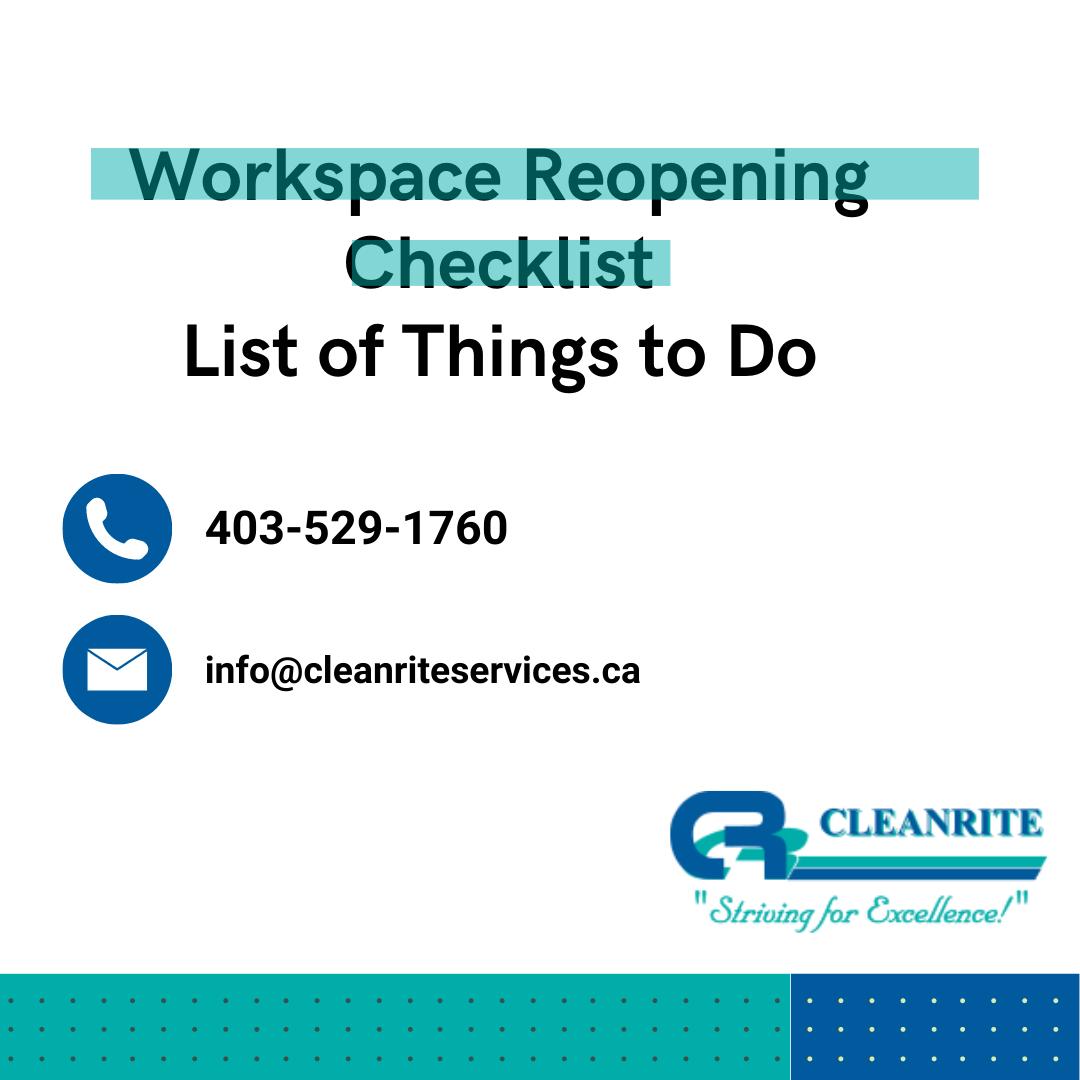 Workplace Checklist- Covid19